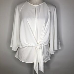 TOPSHOP Slouchy Knot Front Blouse sz 8 White